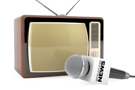 record breaking: Microphone with Breaking News Box Sign and Retro Old TV on a white background. 3d Rendering Stock Photo