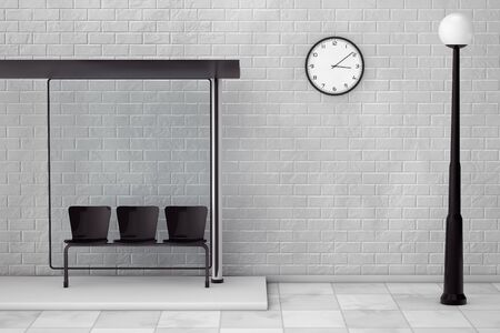 Bus Stop with Street Lamp and Modern Clock in front of Brick Wall. 3d Rendering
