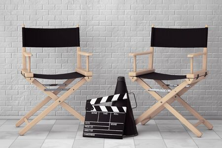 blockbuster: Director Chairs, Movie Clapper and Megaphone in front of Brick Wall. 3d Rendering