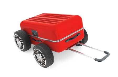 suitcase packing: Red Modern Suitcase with Tires Wheels on a white background. 3d Rendering