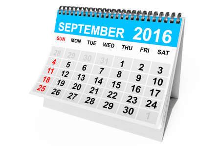 september calendar: 2016 year calendar. September calendar on a white background. 3d Rendering