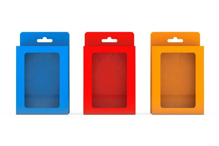 blister package: Product Package Blister Boxes With Hang Slot on a white background. 3d Rendering Stock Photo