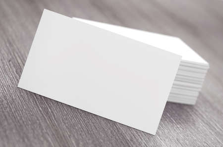 advising: Stacks of Blank Business Cards on a wooden table. 3d Rendering Stock Photo