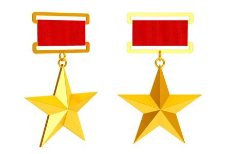 soviet union: Hero of the Soviet Union Gold Star Awards on a white background. 3d Rendering