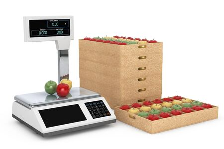 deliberation: Electronic Scales for weighing Food with Apples Boxes on a white background. 3d Rendering Stock Photo