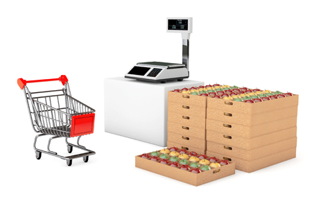 box weight: Electronic Scales for weighing Food with Apples Boxes on a white background. 3d Rendering Stock Photo