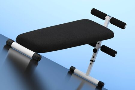 Exercise bench. Gym Equipment on the blue background. 3d Rendering Stock Photo