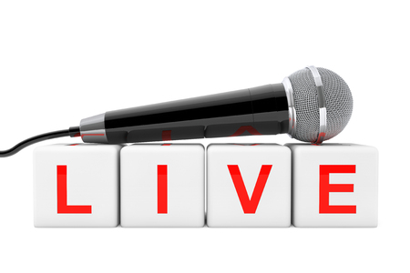 record breaking: Microphone over Live Cube Sign on a white background. 3d Rendering