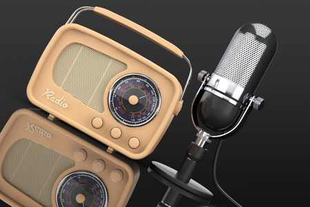 fm: Retro Radio and Vintage Microphone on a black background. 3d Rendering