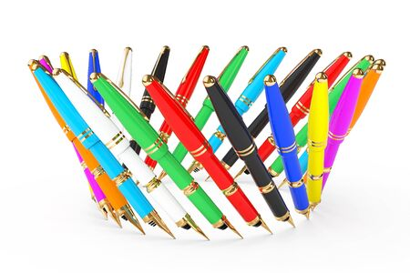 multicoloured: Multicoloured Fountain Writing Pens on a white background. 3d Rendering Stock Photo