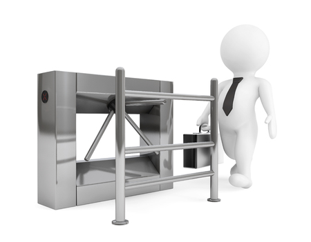 turnstile: Entrance Tripods Turnstile with 3d Person on a white background. 3d Rendering