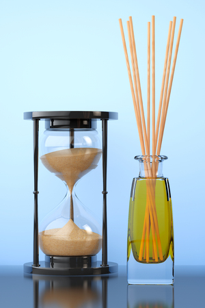 freshener: Aromatherapy Air Freshener with Sand Hourglass on a blue background. 3d Rendering Stock Photo