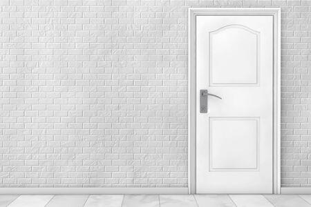 Bianco porta di legno di fronte al muro di mattoni. Rendering 3D