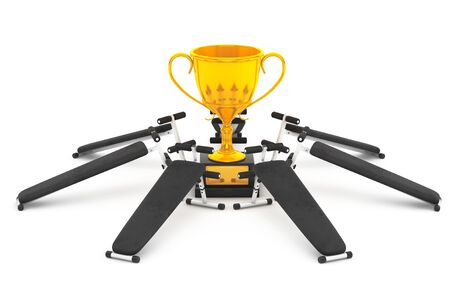 Fitness Success Concept. Gym Bench Equipment around the Golden Trophy on a white background. 3d Rendering