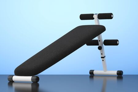 benchpress: Exercise bench. Gym Equipment on the blue background. 3d Rendering Stock Photo