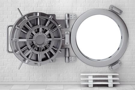 bank vault: Metallic Bank Vault Door in front of Brick Wall. 3d Rendering