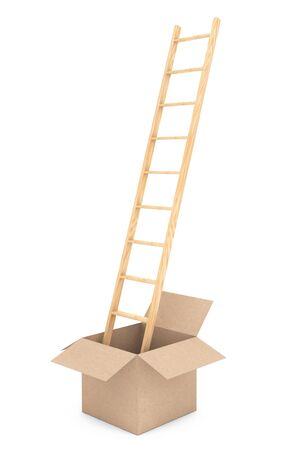 Thinking Outside of the Box. Ladder with Box on a white background. 3d Rendering