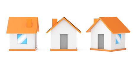 small houses: Cartoon Simple Small Houses on a white background. 3d Rendering