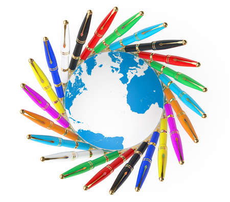 multicoloured: Multicoloured Fountain Writing Pens with Earth Globe on a white background. 3d Rendering