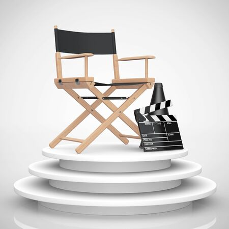 Director Chair, Movie Clapper and Megaphone over Round Stage on a white background. 3d Rendering Stock Photo