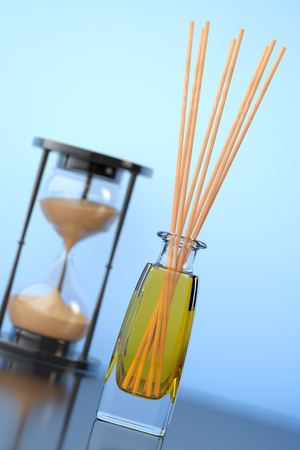 air diffuser: Aromatherapy Air Freshener with Sand Hourglass on a blue background. 3d Rendering Stock Photo