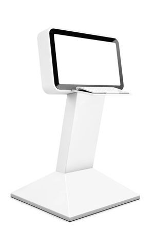 lcd: Information LCD Display Stand on a white background. 3d Rendering