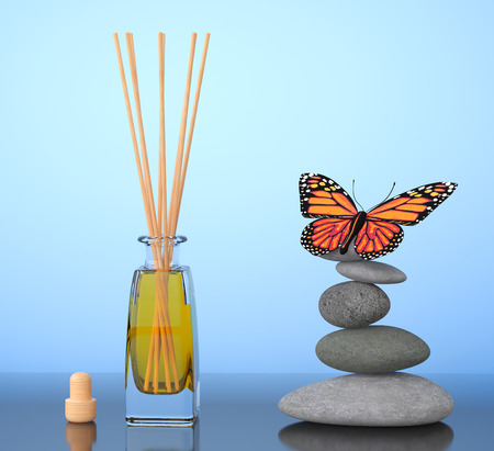 air diffuser: Aromatherapy Air Freshener and Balanced Stones with Butterfly on a blue background. 3d Rendering