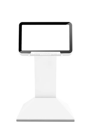 lcd display: Computer Information LCD Display Stand on a white background. 3d Rendering