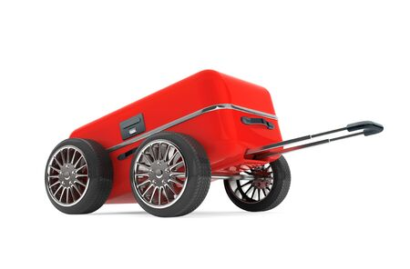 haversack: Red Modern Suitcase with Tires Wheels on a white background. 3d Rendering