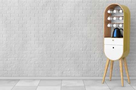 kitchen cabinet: Vintage Wooden Kitchen Cabinet with Kettle and Cups in front of brick wall. 3d Rendering