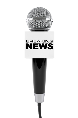 record breaking: Microphone with Breaking News Box Sign on a white background. 3d Rendering
