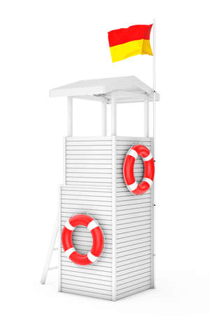 lifeguard: Wooden Lifeguard Tower on a white background. 3d Rendering Stock Photo