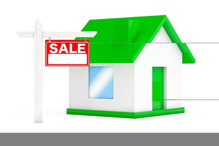 outdoor advertising construction: For Sale Real Estate Signs with Simple House on a white background. 3d Rendering