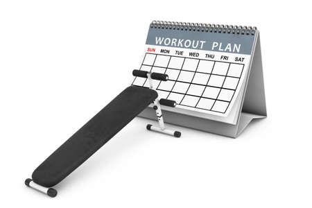benchpress: Exercise bench. Gym Equipment in front of Workout Plan Calendar on a white background. 3d Rendering Stock Photo
