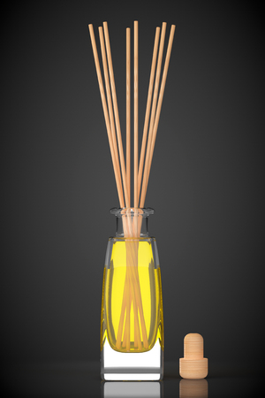 scent: Aromatherapy Air Freshener on a black background. 3d Rendering