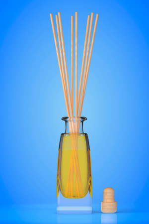 freshener: Aromatherapy Air Freshener on a blue background. 3d Rendering