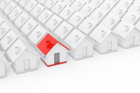 Real Estate Property Industry Concept. Red house in among White Houses on a white background. 3d Rendering Stock Photo