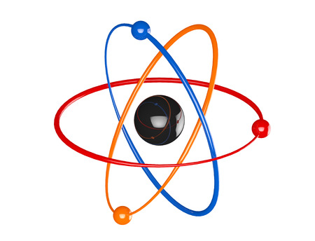 Multicolour Atom, Molecule Icon on a white background. 3d Rendering