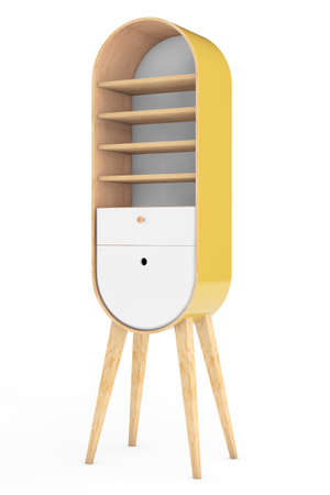 storage room: Vintage Wooden Kitchen Cabinet on a white background. 3d Rendering