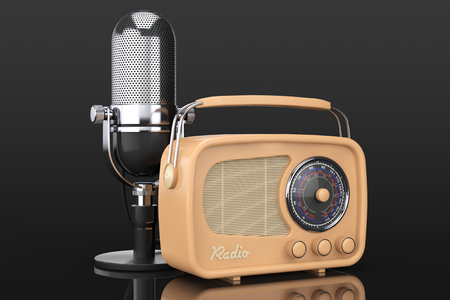 fm radio: Retro Radio and Vintage Microphone on a black background. 3d Rendering