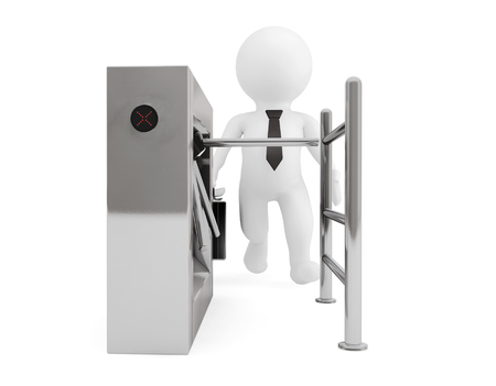 tourniquet: Entrance Tripods Turnstile with 3d Person on a white background. 3d Rendering