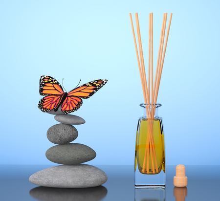 freshener: Aromatherapy Air Freshener and Balanced Stones with Butterfly on a blue background. 3d Rendering