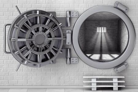 Metallic Bank Vault Deur in voor bakstenen muur. 3D-rendering