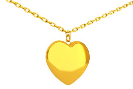golden heart: Golden Heart Medallion on chain over white background. 3d Rendering