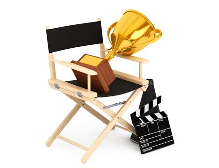 filmmaker: Director Chair, Movie Clapper and Megaphone with Golden Trophy on a white background. 3d Rendering