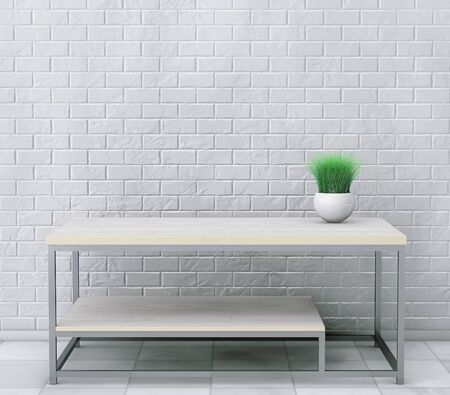 planter: Simple Wooden Cocktail and Coffee Table with Grass in Ceramic Planter in front of brick wall. 3d Rendering Stock Photo
