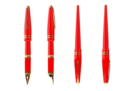 Red Fountain Writing Pen on a white background. 3d Rendering Stock Photo