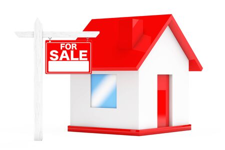 simple house: For Sale Real Estate Signs with Simple House on a white background. 3d Rendering