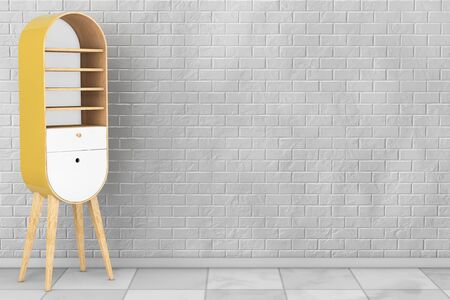 kitchen cabinet: Vintage Wooden Kitchen Cabinet in front of brick wall. 3d Rendering