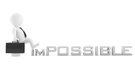 business change: 3d Businessman destroy Impossible Sign on a white background. 3d Rendering